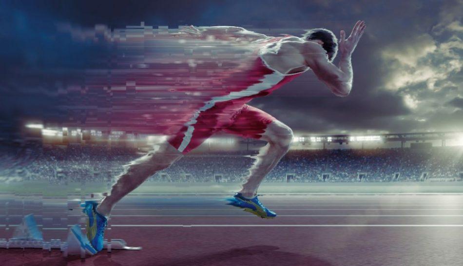 hombre en una carrera de velocidada