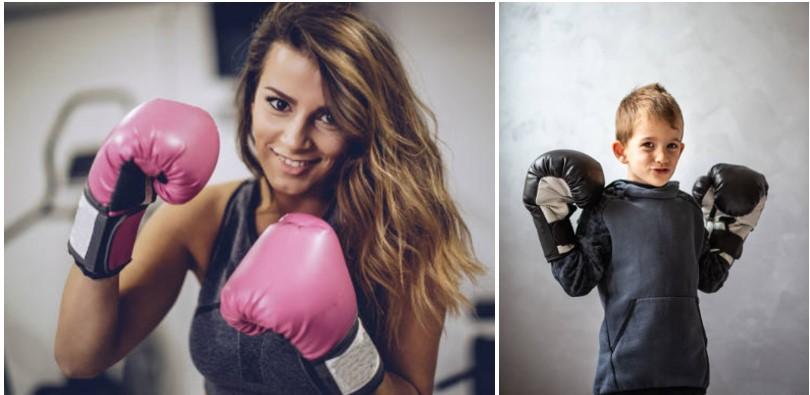guantes de boxeo mujeres y niños